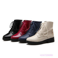 Womens Girls OL Mid Calf Boots Low Heels Lace Up Shoes AU All Size Y1358