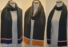 "Tommy Hilfiger Knit Stripes Signature Winter Men Scarf Gray 69"" x 9.5"" NWOT"
