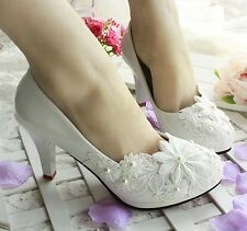Princess White Wedding Bridal Shoes High Heels Mary Evening Party Lace NEW