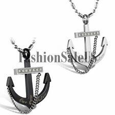 Men Women Fashion Stainless Steel Rhinestone Anchor Pendant Charm Necklace Chain