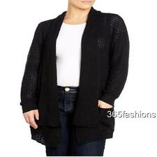 SAMYA PLUS SIZE COWL NECK OPEN CHUNKY KNIT LONG SLEEVE CARDIGAN BLACK 24 26 28