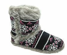 Ladies Coolers Black Grey Fur Warm Lined Boot Slippers Sizes 3 4 5 6 7 8