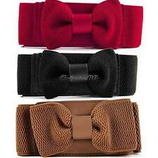 New Women Graceful Bowknot Elastic Lovely Belt With Buckle Waistband New CaF8