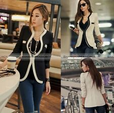 New Women Slim White Black Casual Suit OL Top Coat Jacket Blazer Suit Outwear S7