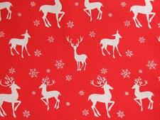 CHRISTMAS Red and white Reindeer polycotton material fabric for craft bunting
