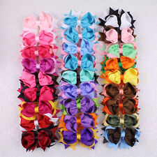 Lot 300/400/500/1000pc 4in BabyGirl Two Tone Mixed Ribbon Hair Bows Clips 2784-P