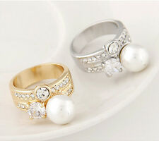 Fashion Vintage Gold Plated Metal Zircon Ring Unique Charm Women Lady Jewelry