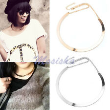 1X Punk Mirrored Curved Collar Necklace Choker Metal Polished Silver/Golden Gift
