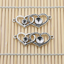 Tibetan Silver Vintage Alloy Heart to Heart Pendant Charms Connector 41X15mm