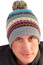 Bruno Galli Designer Winter Beanie Hat with Pom Pom Jacquard Style