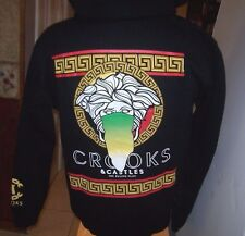 New CROOKS & CASTLES black  hoodie full zip zipper front jacket medium or large