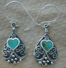 925 STERLING SILVER Turquoise/Paua Shell  NZ Heart Filigree Earring Pendant GIRL