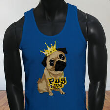 Funny Crown Dog Lovers Animal Cute Pug Life Cartoon Mens Blue Tank Top