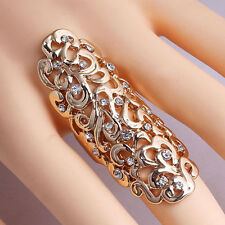 Silver Gold Plated Crystal Full Finger Armor Joint Knuckle Hollow Out Ring