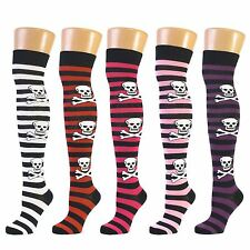 Ladies Skull & Crossbone Thick Stripe Over The Knee Socks - Red-Black Lot