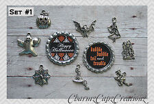 10 pc Halloween Inspired Charm Set/Lot/Collection with Bottle Caps / Choose Set