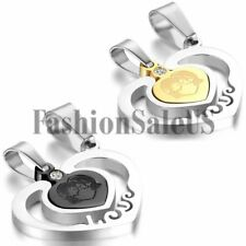 New Couples Women Men Stainless Steel Love Heart Puzzle Necklaces Valentine Gift