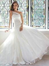 New One Shoulder Pleated Bridal Gown Wedding Dress Custom Size 6 8 10 12 14 16+