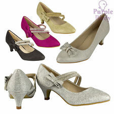 Girls Sparkly Wedding Party Shoes Diamante Strap Smart Bow Court Heels Kids Size