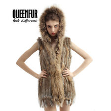 Queenfur Real Knit Rabbit Fur Hooded Vest Natural Raccoon Fur Coller Women Gilet
