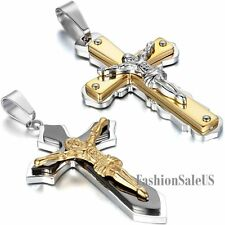 Stainless Steel Jesus Christ Cross Pendant Men's Necklace With Chain Lucky Gift