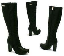 LADIES WOMENS LEATHER STYLE KNEE HIGH HEEL ZIP UP BIKER RIDING BOOTS SHOES SIZE