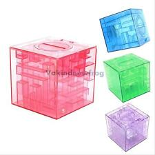 Transparent Cubic Money Maze Bank Saving Coin Collection Case Box 3D Puzzle Gift