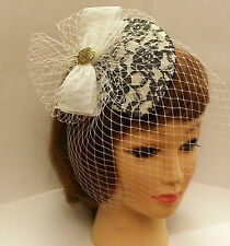 Vintage 1940s-50s Fascinator Veil  Black & White Teardrop hat mini birdcage veil