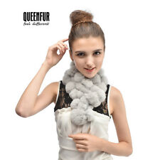 Queenfur Real Rex Rabbit Fur Ball Scarf Nature Rabbit Fur Women Warm Solid Wrap