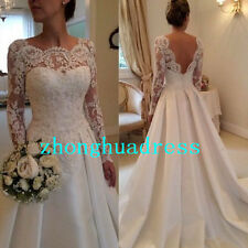New Stock White/Ivory Appliques Satin Wedding Dress Bridal Gown US Size 4-22