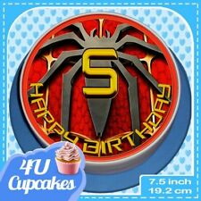 PRECUT SPIDERMAN BIRTHDAY AGES 3-9 EDIBLE CAKE TOPPER RICE PAPER 7.5 inch CC511L