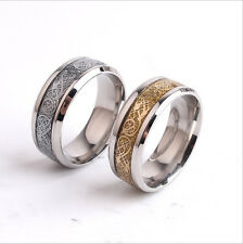 Fashion Sz6-12 Silver Black Gold Chain Stainless Steel Men's Band Rings Wedding