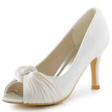 HP1557 Ivory Women Peep Toe Stiletto Heels Pumps Knot Satin Wedding Party Shoes