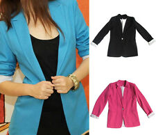 Causal Office Women Ladies Candy Colors Stylish Slim Suit Fitted Jacket Size S-L