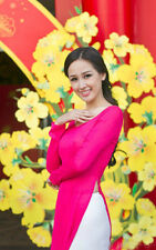 Pink, White Vietnam AO DAI CUSTOM MADE, Chiffon Dress and Satin Pant, Best price