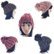 Ladies Super Chunky Wool Knit Knitted Warm Winter Bobble Slouch Beanie Hat (A74)