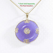 14k Solid Gold Joy & Butterflies Design On Disc Shape Lavender Jade Pendant