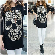 New Black Oversized Emo Goth Punk Rock Big Skull Cool Sexy Perforated Sleeve Top
