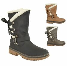 NEW WOMENS LADIES FUR LINED FLAT LOW HEEL WINTER SNOW ANKLE ZIP BOOTS SHOES SIZE