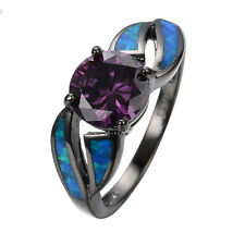 Amethyst Blue Fire Opal Wedding Band 10K Black Women's Engagement Ring Size 6-10