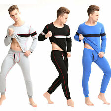 Men's Crew Neck Plus thick fleece Thermal Underwear Sets Long Johns Top & Bottom