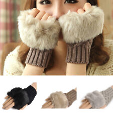 Ladies Women Faux Rabbit Fur Hand Wrist Winter Knitted Fingerless Gloves Mitten