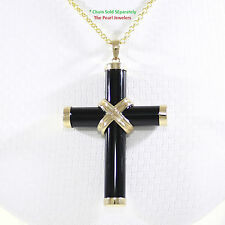 14k Yellow Solid Gold Hand Crafted 7mm Tube Black Onyx Christian Cross Pendant