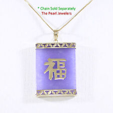 14k Yellow Gold Good Fortune on the Board of Lavender Jade Oriental Pendant TPJ