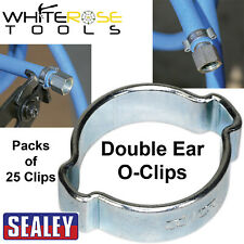Sealey 7-23mm 25 Pack O-Clips Double Ear Hose Clamp Hydraulic Hose Zinc Plated