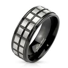 Coolbodyart AF Stainless Steel Ring Silver Black Brushed Square Grooved Line