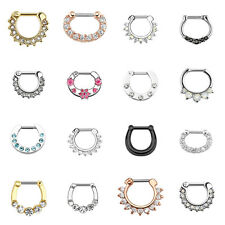 Nose Piercing Septum Clicker Shield Ring Nose Ring Multi Crystal Helix Piercing