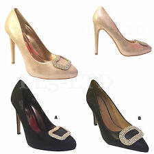 WOMENS LADIES MID HIGH HEEL PARTY WORK ENCRUSTED COURT SHOES PUMPS SIZE 4-8