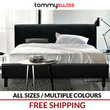 TOMMY SWISS: DELUXE King Queen & Double PU Leather Bed Frame in Black White