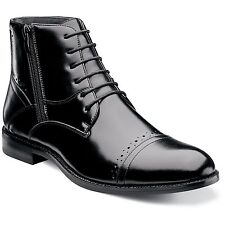 Stacy Adams Mens Black Godfrey Leather Lace Up Cap Toe Dress Casual Ankle Boot